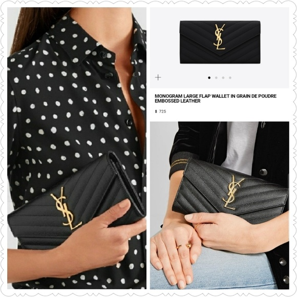 9b1faec836 Saint Laurent Bags | Monogram Large Leather Flap Wallet | Poshmark